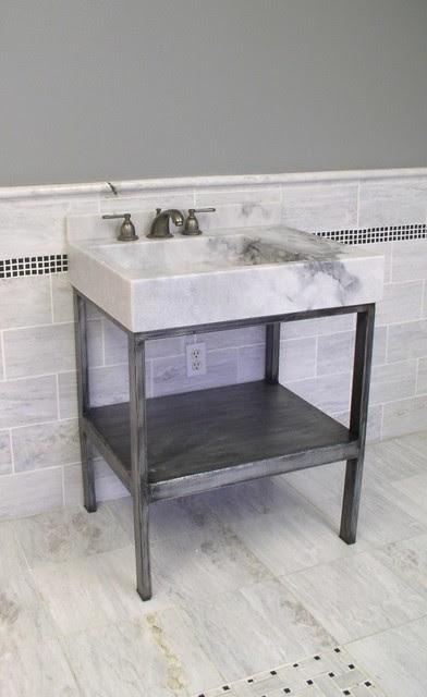 Vanities wrought iron and stone - eclectic - bathroom vanities and