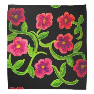 Petunia Flower Design on Bandana