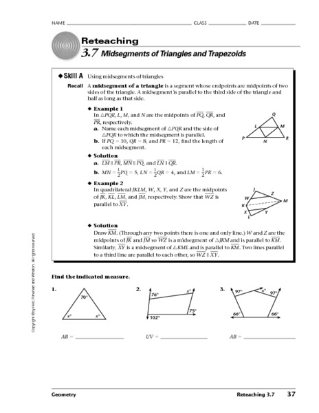 Triangle Midsegment Worksheet Pdf  todayheadyv.overblog.com