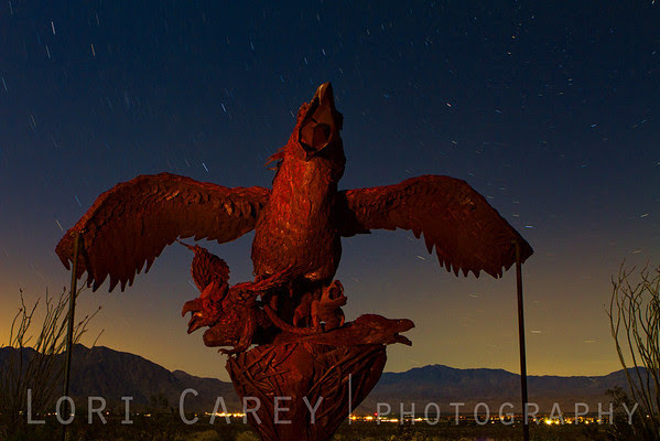 Night photo of Giant Eagle sculpture by Ricardo Bracedo for the Galleta Meadows Sky Art installation.