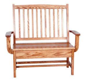 Mission Oak Bench Indoor Furniture Wooden Storage New | eBay