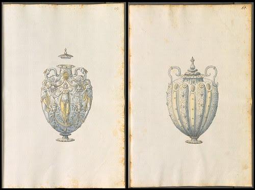 two decorative ceremonial vase designs