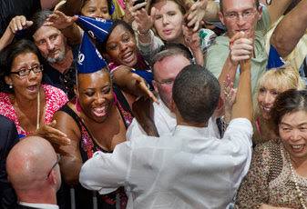 President Obama greeted supporters at a fundraiser in the Aragon in Chicago on his birthday.