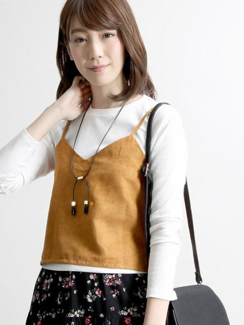 WEGO/キャミレイヤードTシャツ(キャメル)
