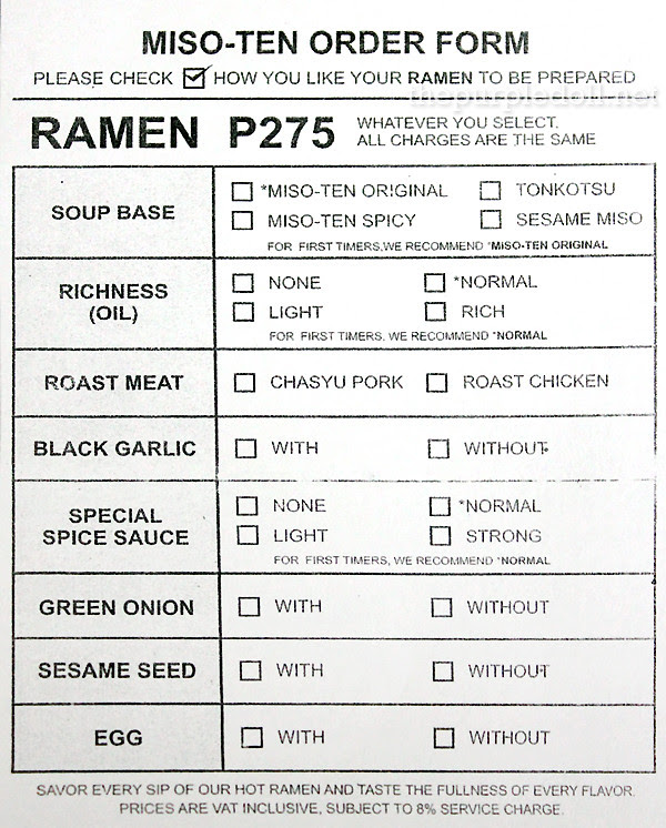 Miso-Ten Ramen Order Form