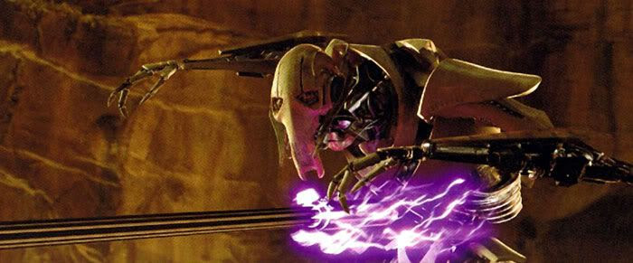 General Grievous is hit in the abdomen with an electrostaff.
