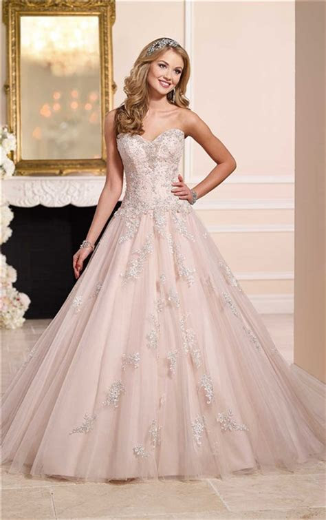 Romantic Ball Gown Strapless Blush Pink Tulle Lace Beaded