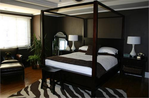 Brown Canopy Bed - Contemporary - bedroom - HGTV