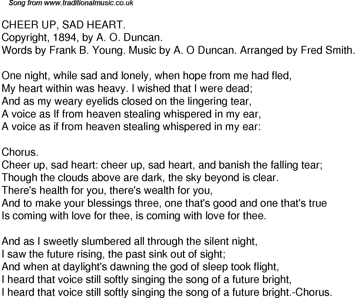 Old Time Song Lyrics For 45 Cheer Up Sad Heart