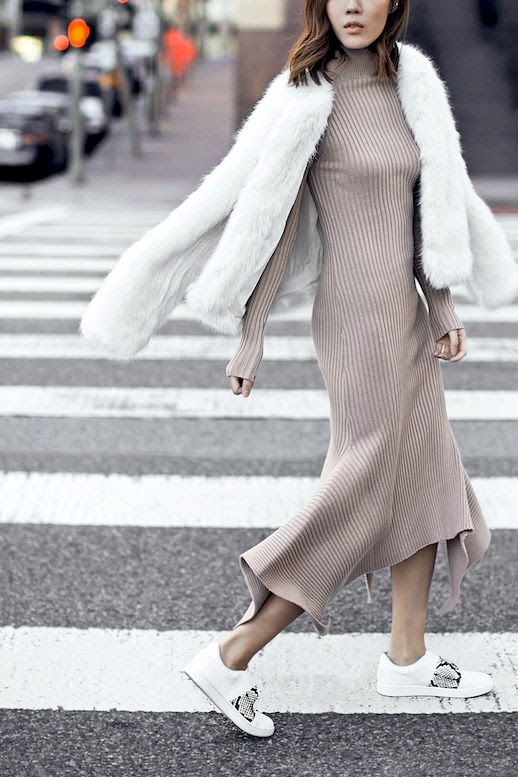 Le Fashion Blog Blogger Style White Fur Coat Nasty Gal Tan Ribbed Knit Maxi Dress Vince Sneakers With Python Details Via Tsangtastic