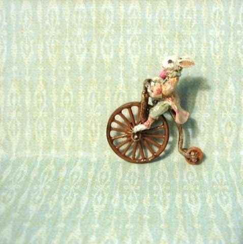 Jill Dianne- antique style tiny Mechanical toy Easter Bunny Rabbit on a Penny-farthing / bicycle - Dollhouse Miniature - JillDianneArt
