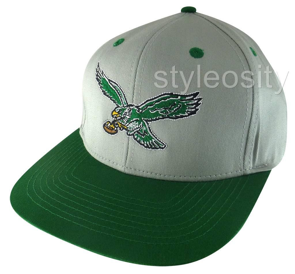 NFL PHILADELPHIA EAGLES BASEBALL CAP FLAT BRIM Bill Hat Snap Back GREEN MENS NEW