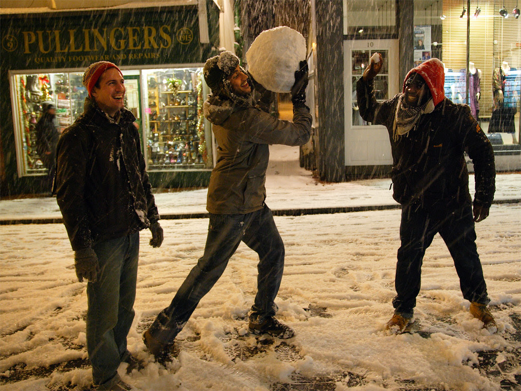 Giant snowball fight in Brighton