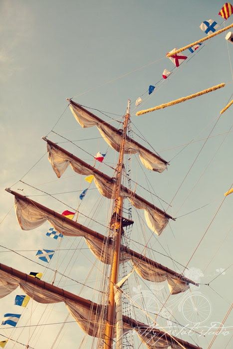 Fine Art Photograph, Sailboat, Cuauhtemoc Ship from Mexico, Flags, Nautical, Sailabration, Baltimore MD, Inner Harbor, Colorful, 4x6 Print