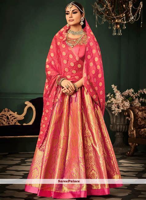 Buy Festal Rose Pink Banarasi Silk Lehenga Choli Online