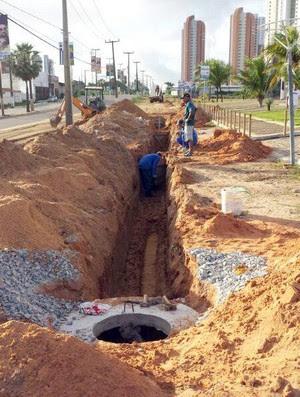 Obras de drenagem no Estádio Frasqueirão, em Natal - ABC (Foto: Divulgação/ABC)