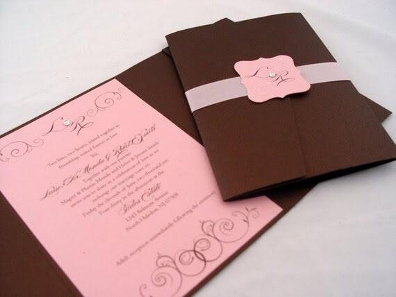 Elegant Pink and Brown Wedding Invitation