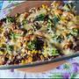 Zapiekanka z czerwonego ryżu, brokułów, kurczaka