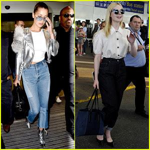 Bella Hadid & Elle Fanning Arrive in France for Cannes Film Fest