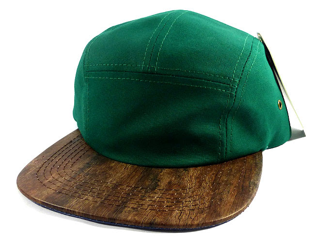 Wholesale Blank Wooden Cork 5-Panel Hats Caps - Green   Auburn