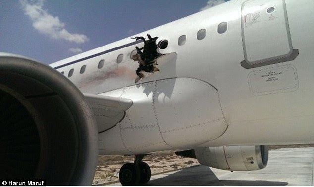 A explosion blew a hole in the side of the Airbus A321 just 15 minutes after it left Mogadishu in Somalia