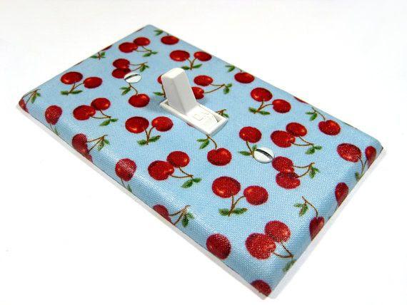 Blue Cherry Kitchen Decor Cherries Light Switch by  | Rockabilly R…