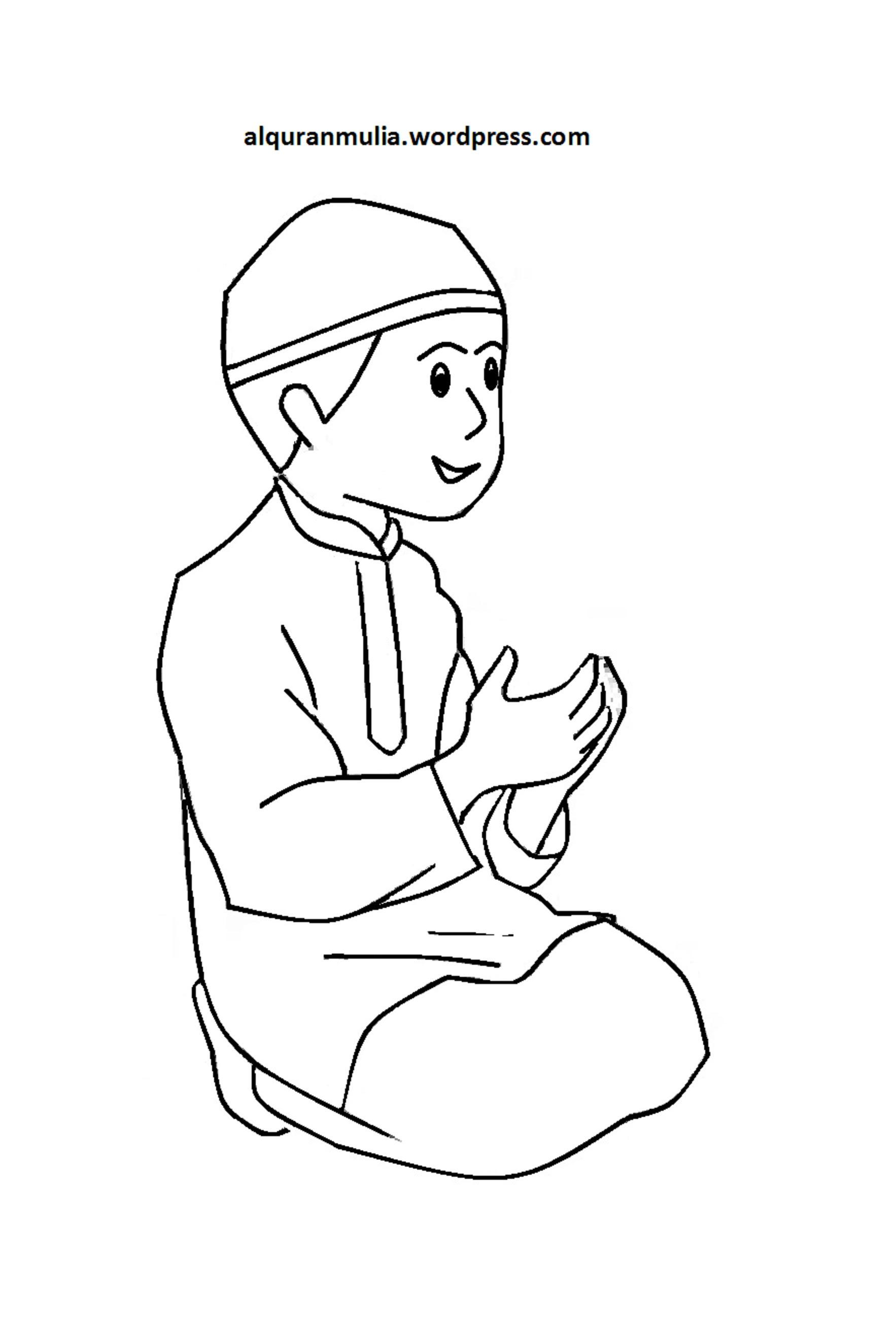 Mewarnai Gambar Mewarnai Gambar Sketsa Kartun Anak Muslimah 2 Auto
