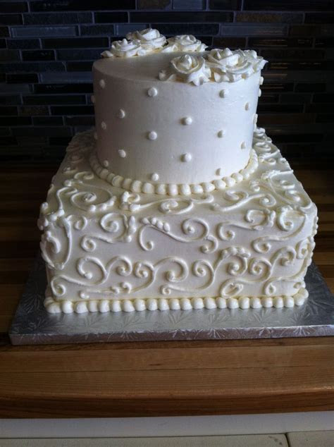 two tier square and round wedding cake   Wedding Cakes