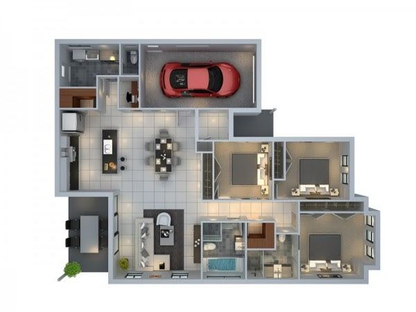 3 Bedroom House Plans With Apartment