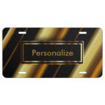Gold & Black Stripes | Personalize License Plate
