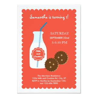 "Milk and Cookies Birthday Invitation 5"" X 7"" Invitation Card"