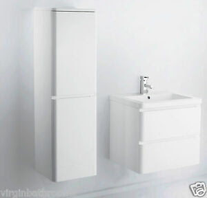 600 mm WALL HUNG MDF WHITE GLOSS BATHROOM VANITY UNIT AND ...