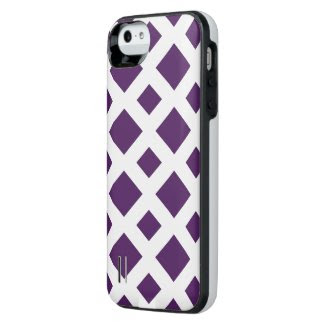 Purple Diamonds on White Uncommon Power Gallery™ iPhone 5 Battery Case