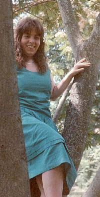 Shelagh in the mimosa tree