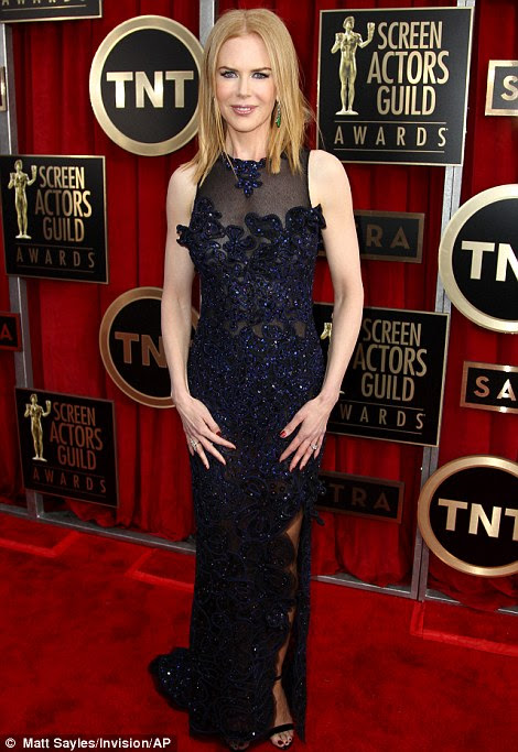 Midnight black: Nicole Kidman spiced her black look up with a layering of blue thanks to the handiwork of Vivienne Westwood