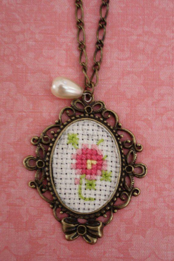 Pink Rose Cross Stitch Necklace