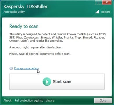 Kaspersky TDSSKiller change settings