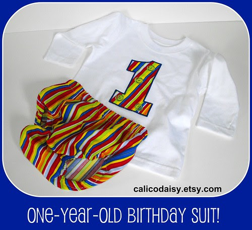 One-Year-Old Birthday Applique Shirt and Diaper Cover Set