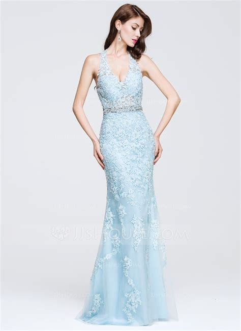 Trumpet/Mermaid V neck Floor Length Tulle Prom Dress With