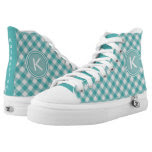 Personalize: Teal Gingham Check High Tops Printed Shoes