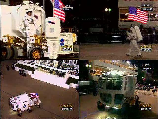 Screenshots of NASA's Lunar Electric Rover at the Inaugural Parade, on January 20, 2009.