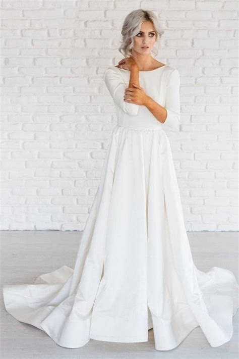 Simple Wedding Dress, White A line Satin by Miss Zhu