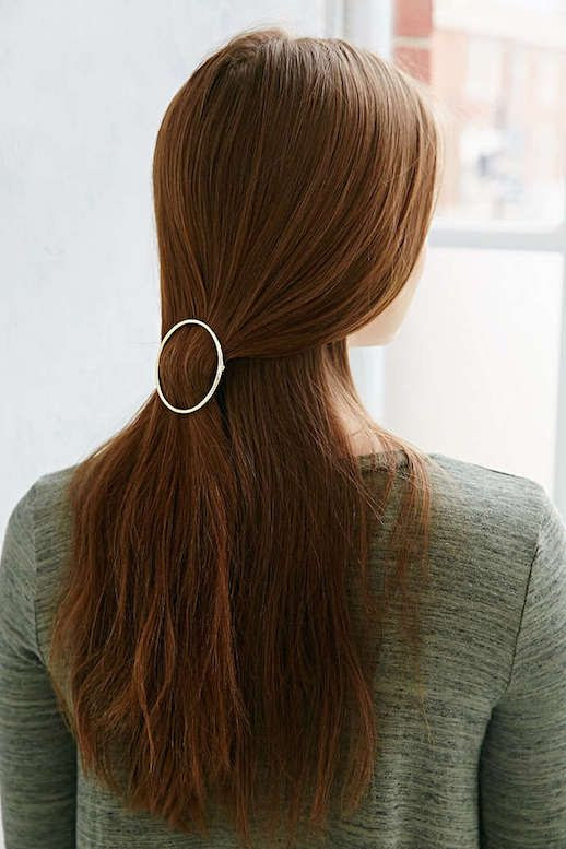 Le Fashion Blog 15 Ways To Wear Round Circle Hair Clip Pin Accessory Hairstyle Loose Half Up Do Auburn Hair Silver Margot Via Urban Outfitters