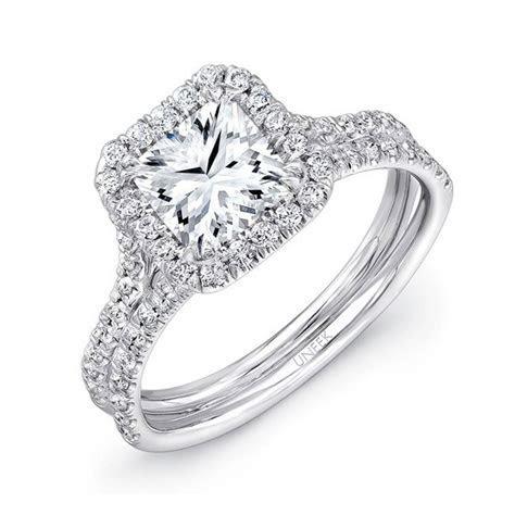 Uneek LVS899 0.52ctw Diamond Square Halo Engagement Ring