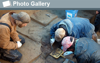 Photo of excavation site and the words Photo Gallery.