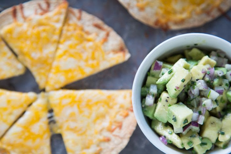Cheese Crisps with Avocado Salsa