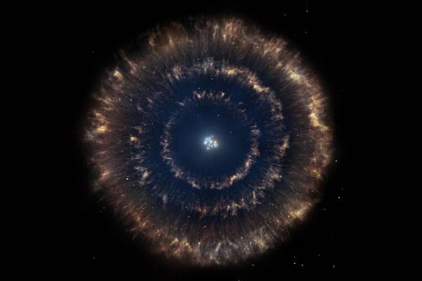 Rappresentazione artistica della matrioska cosmica. I tre dischi concentrici sono stati prodotti dall'esplosione di una supernova (fonte: Gabriel Pérez/SMM, IAC)