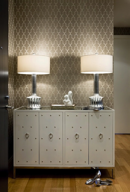 Suzie:  Sally Steponkus  chic foyer design with white studded cabinet credenza, silver ribbed ...