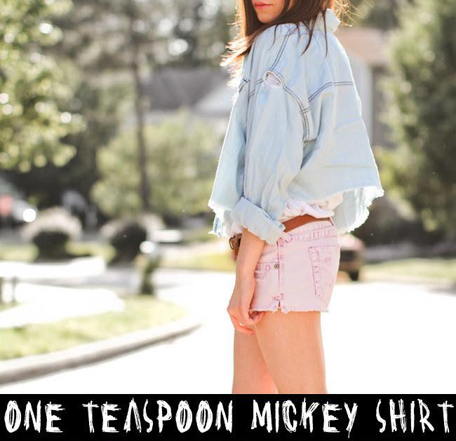 One Teaspoon Mickey Shirt, Ash Wedges, Pink Jean Shorts, Elizabeth and James Shirt