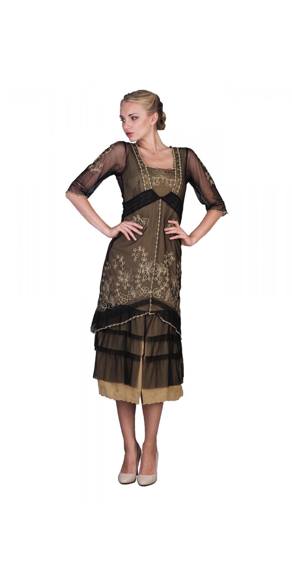 titanic tea party dress in black goldnataya